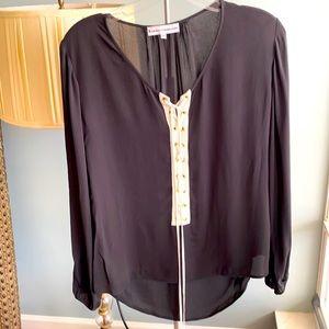 Karina Grimaldi XS rayon silky lace up shirt